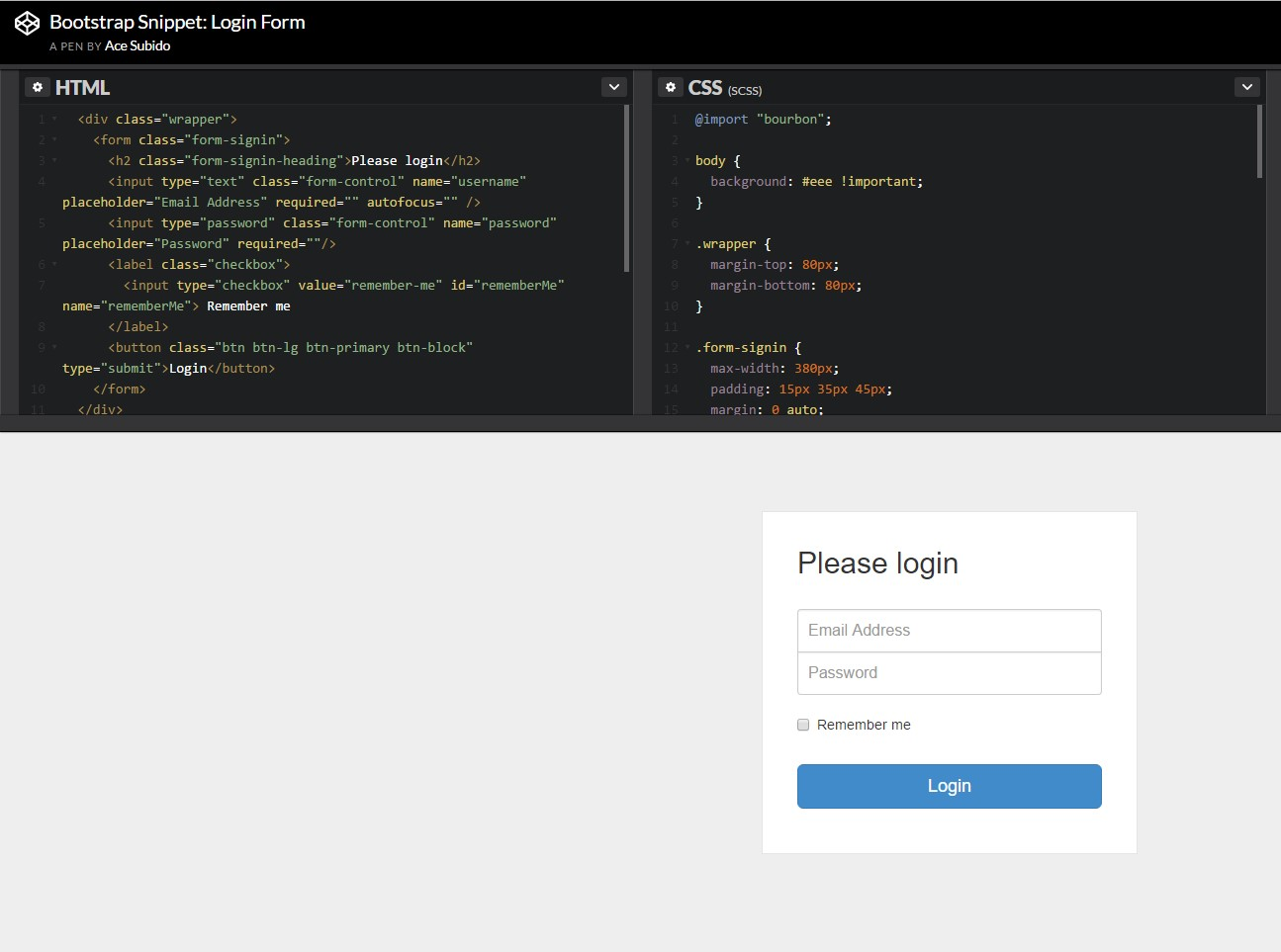 Other example of Bootstrap Login Form