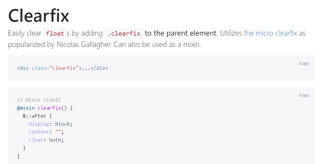 Bootstrap clearfix  authoritative  documents