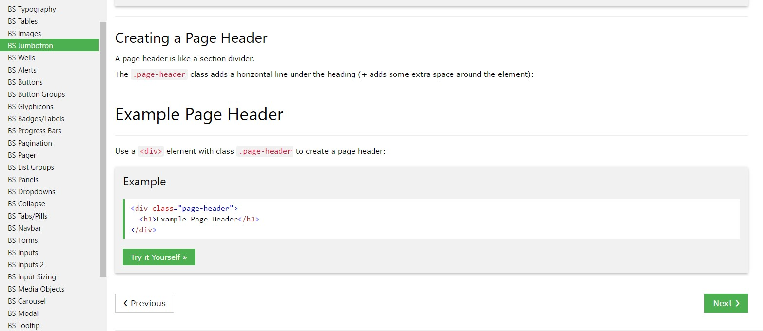 Bootstrap Header  short training