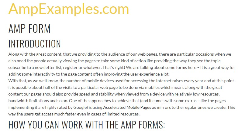 Why  do not we examine AMP project and AMP-form  feature?